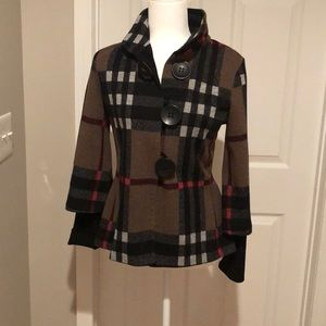 Burberry pattern belted back jacket